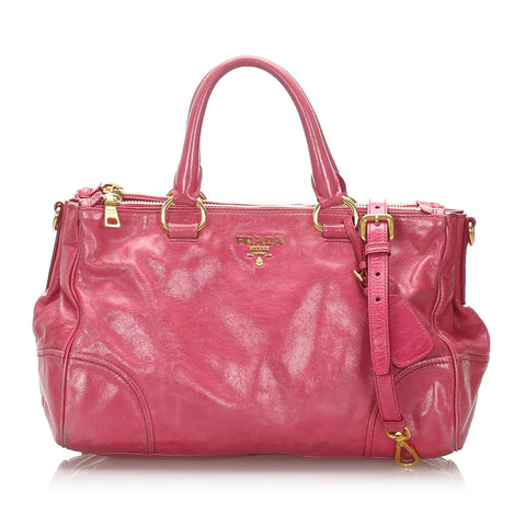 Pink Prada Vitello Shine Satchel Bag