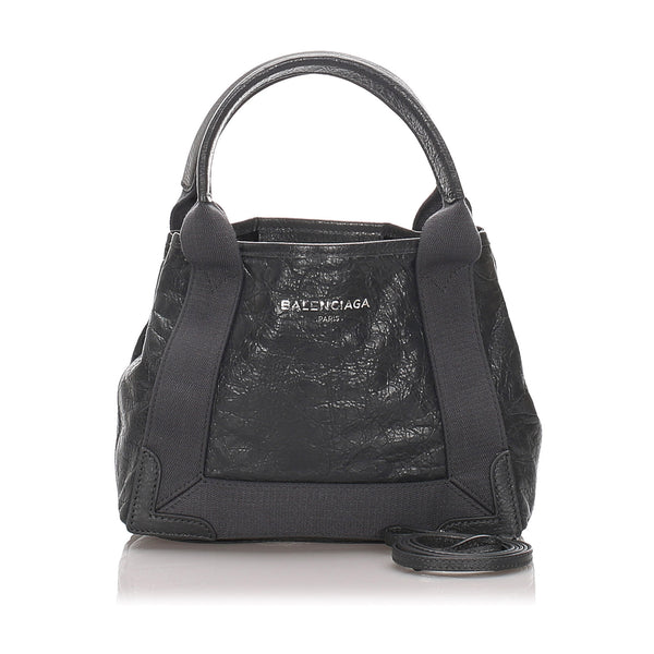 Black Balenciaga XS Navy Cabas Satchel Bag