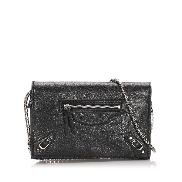 Black Balenciaga Motocross Leather Wallet on Chain