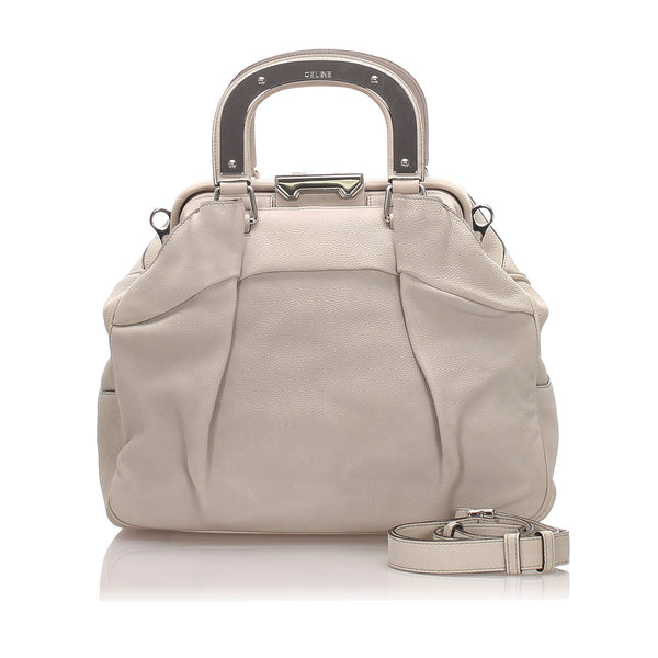 White Celine Leather Satchel Bag