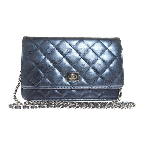 Blue Chanel Reissue Wallet on Chain
