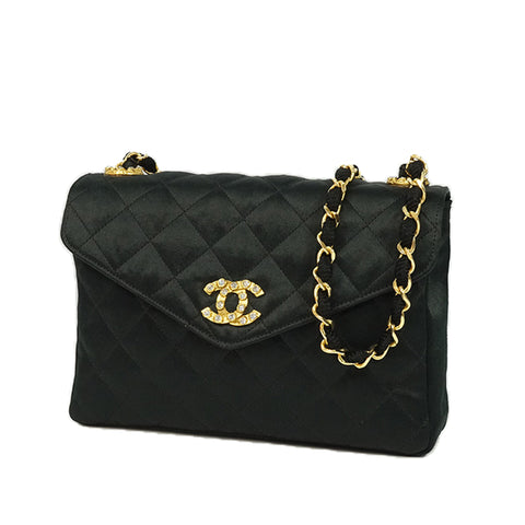Black Chanel CC Quilted Satin Shoulder Bag