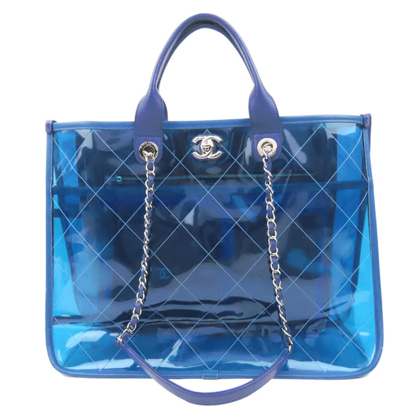 Blue Chanel 2018 Quilted PVC Medium Coco Splash Shopping Tote Bag