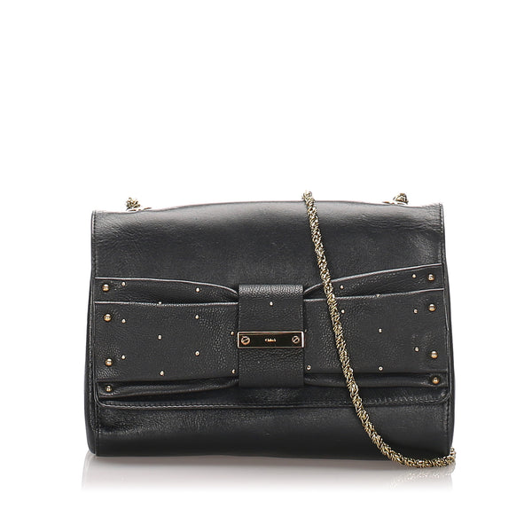 Black Chloe June Bow Leather Shoulder Bag