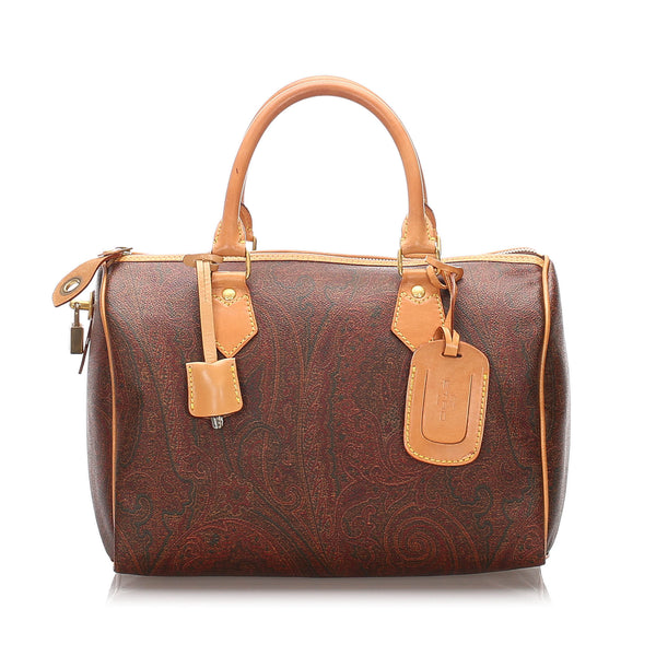 Brown Etro Printed Coated Canvas Boston Bag