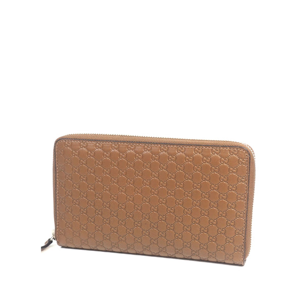 Brown Gucci Microguccissima Leather Travel Wallet