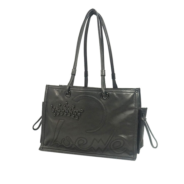 Black Loewe Leather Tote Bag
