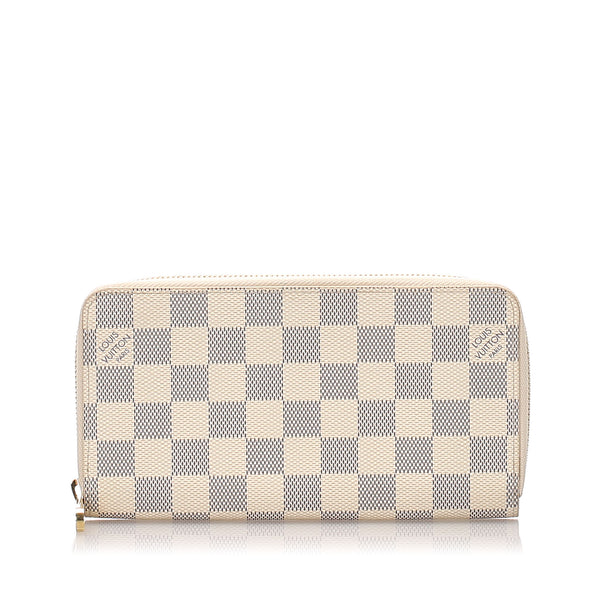White Louis Vuitton Damier Azur Zippy Wallet