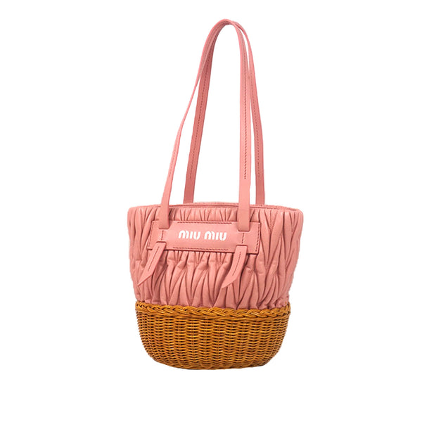 Pink Miu Miu Rattan Bucket Bag
