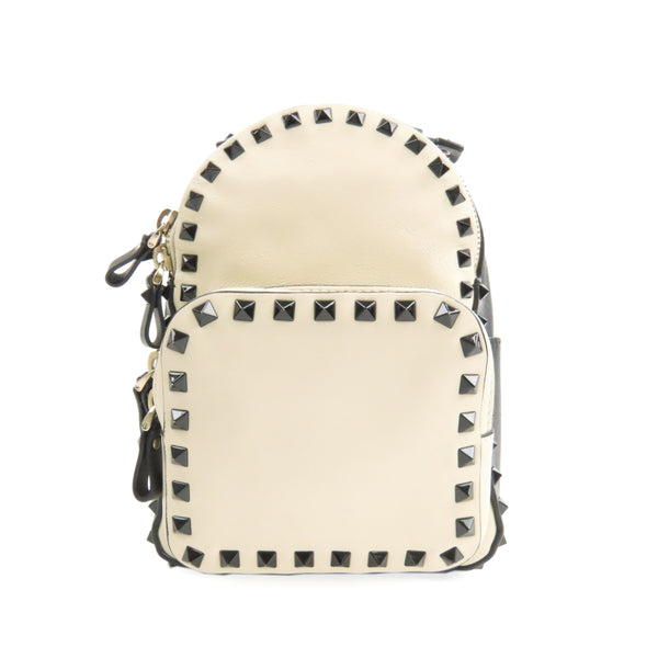 White Valentino Rockstud Leather Backpack Bag