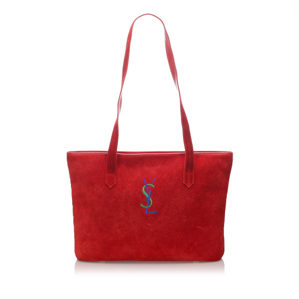 Vintage Red YSL Suede Monogram Tote Bag