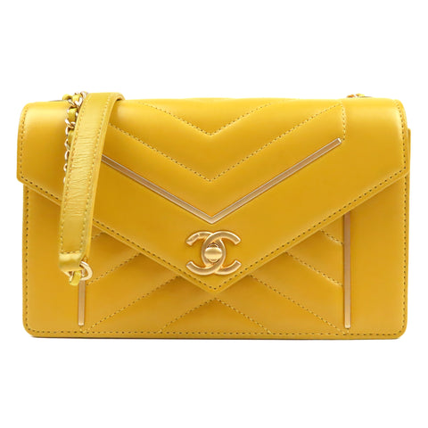 Yellow Chanel Small Reversed Chevron Flap Bag