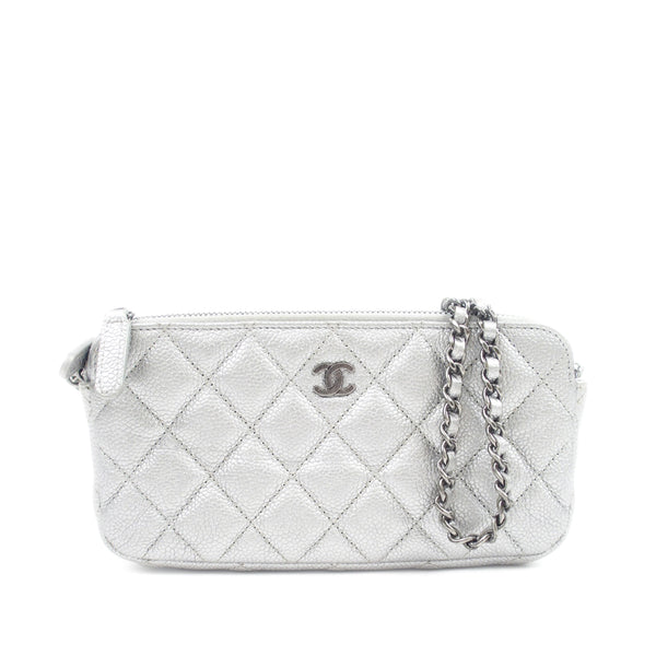 Silver Chanel Caviar Double Zip Wallet on Chain
