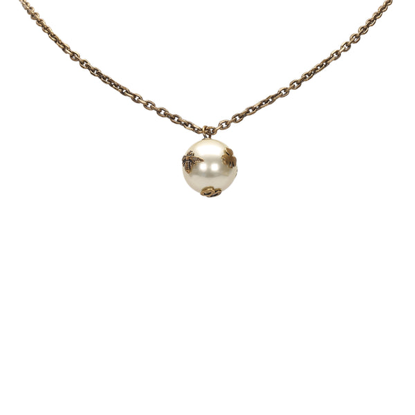 Brown Dior Faux Pearl Pendant Necklace