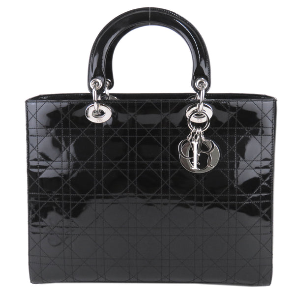 Black Dior Cannage Patent Leather Lady Dior Satchel Bag