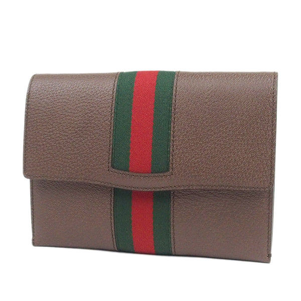 Brown Gucci Web Totem Leather Clutch Bag