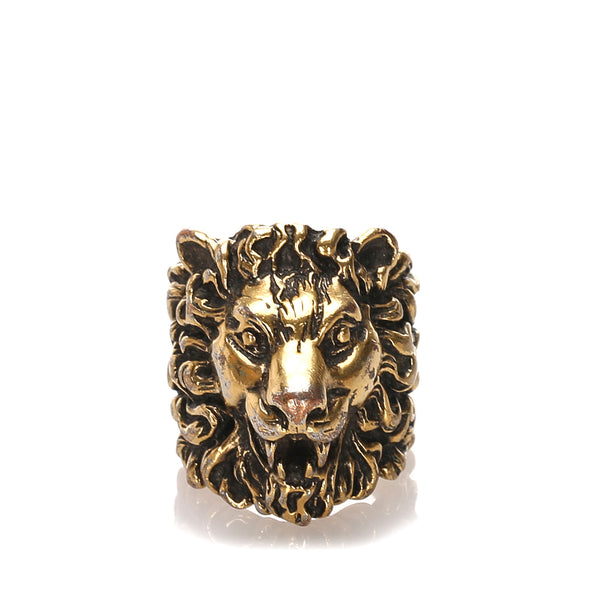 Gold Gucci Lion Head Ring