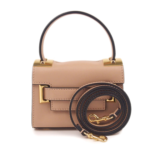 Camel Valentino Mini My Rockstud Leather Satchel Bag