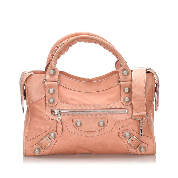 Pink Balenciaga Leather Motocross Giant City Satchel Bag