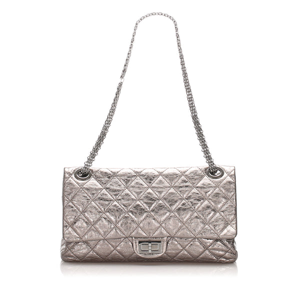 Silver Chanel Reissue Quilted Leather Double Flap Bag