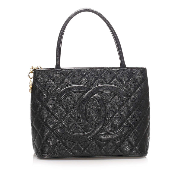 Black Chanel Caviar Medallion Leather Tote Bag