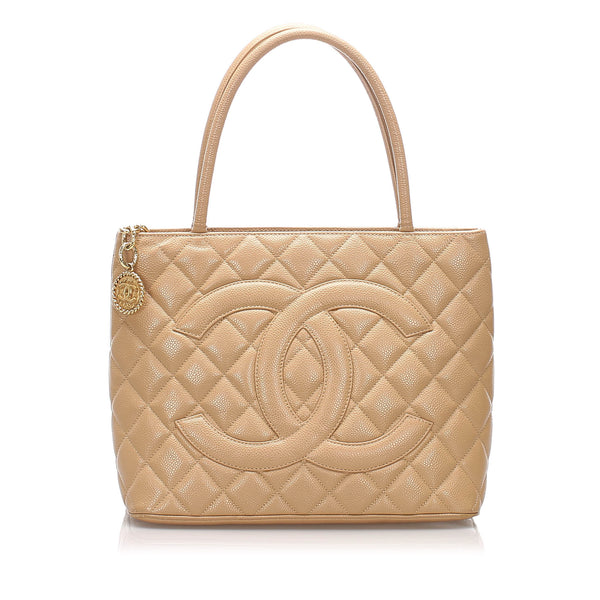 Brown Chanel Caviar Medallion Leather Tote Bag