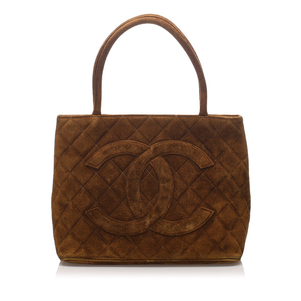 Brown Chanel Suede Medallion Tote Bag