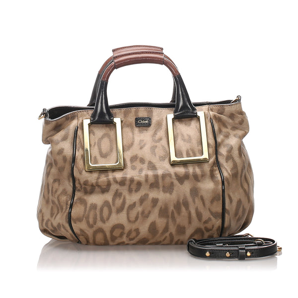 Brown Chloe Leopard Print Leather Ethel Satchel Bag