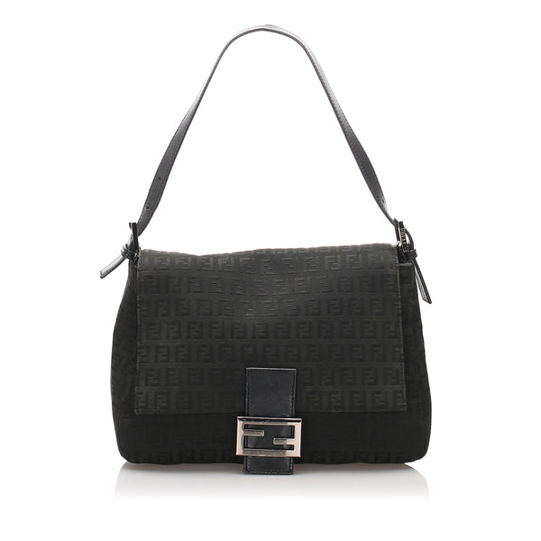 Black Fendi Zucchino Canvas Mamma Forever Bag