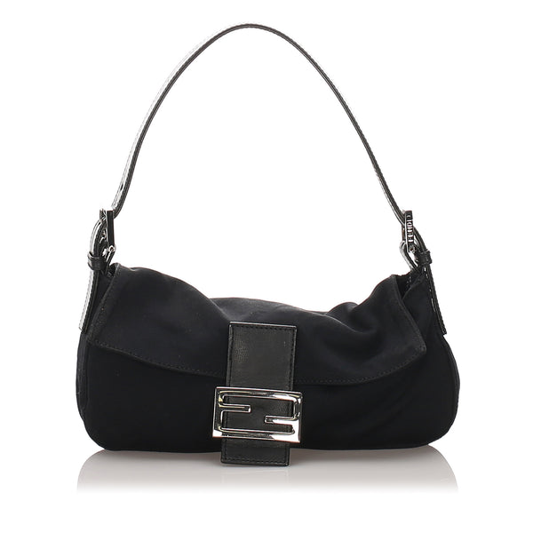 Black Fendi Canvas Mamma Baguette