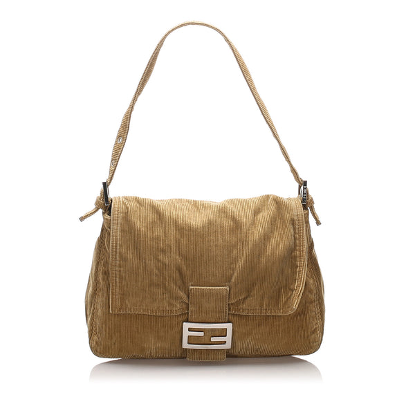 Brown Fendi Corduroy Mamma Forever Shoulder Bag