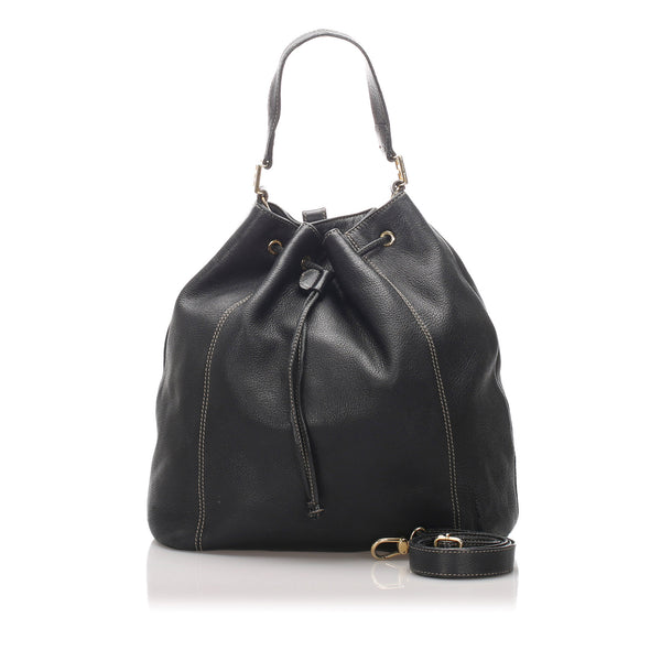 Black Fendi Leather Bucket Bag