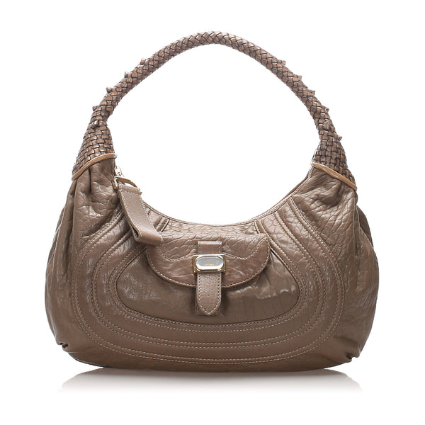 Brown Fendi Leather Spy Hobo Bag