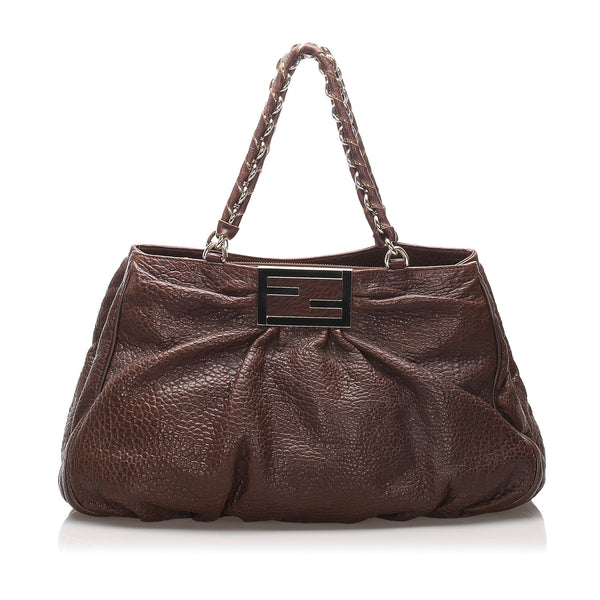 Brown Fendi Leather Mia Shoulder Bag