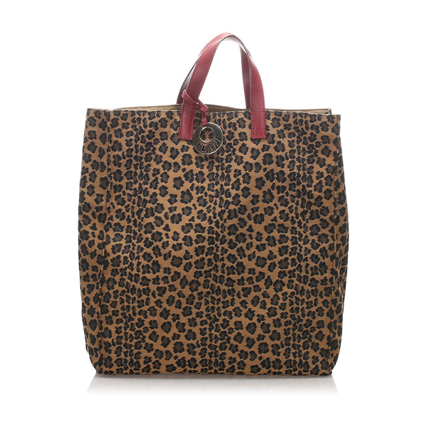 Brown Fendi Leopard Print Nylon Tote Bag