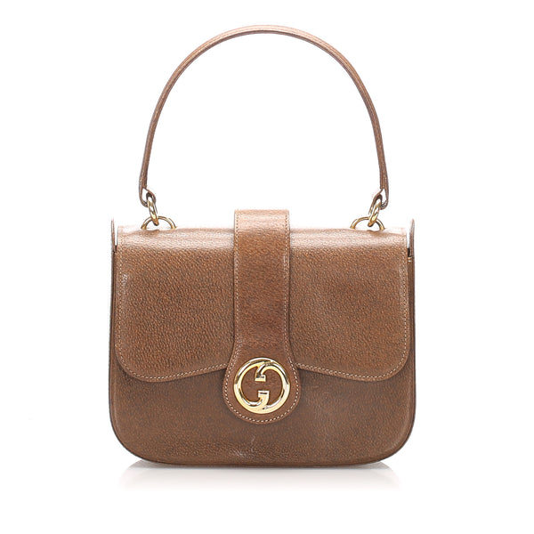 Brown Gucci Vintage Leather Handbag Bag
