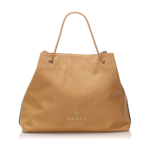 Brown Gucci Leather Tote Bag