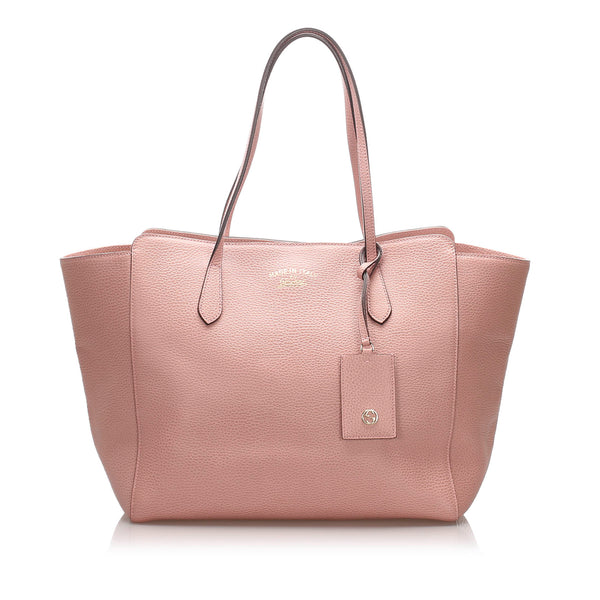 Pink Gucci Leather Swing Tote Bag