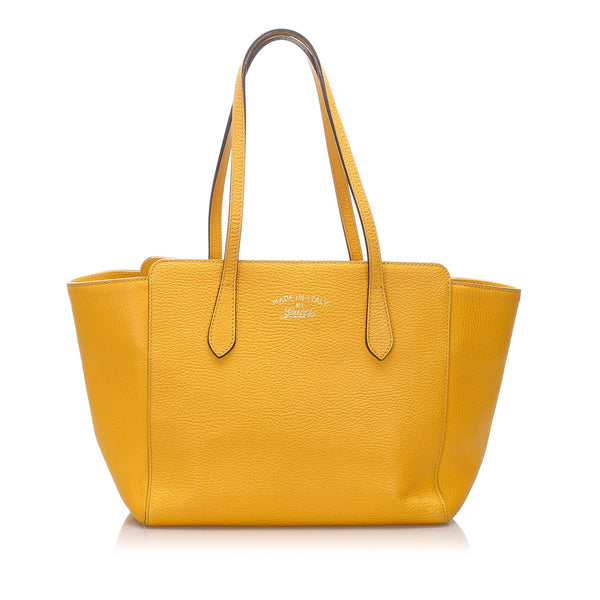 Yellow Gucci Leather Swing Tote Bag
