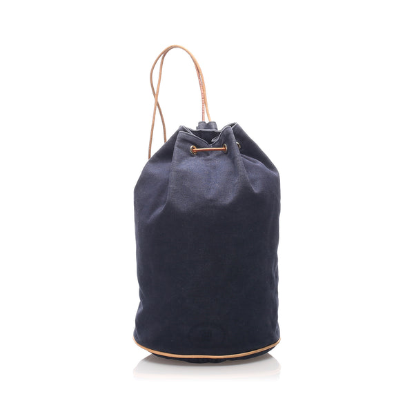 Blue Hermes Canvas Polochon Mimile Bag