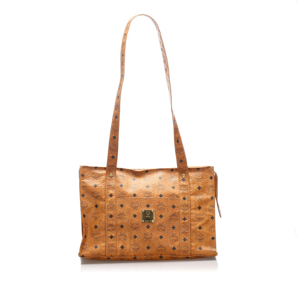 Brown MCM Visetos Leather Tote Bag