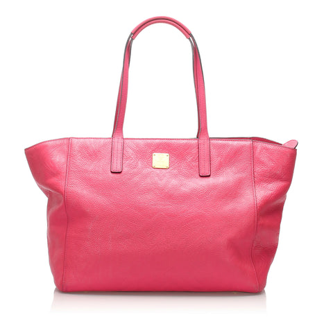 Pink MCM Leather Tote Bag