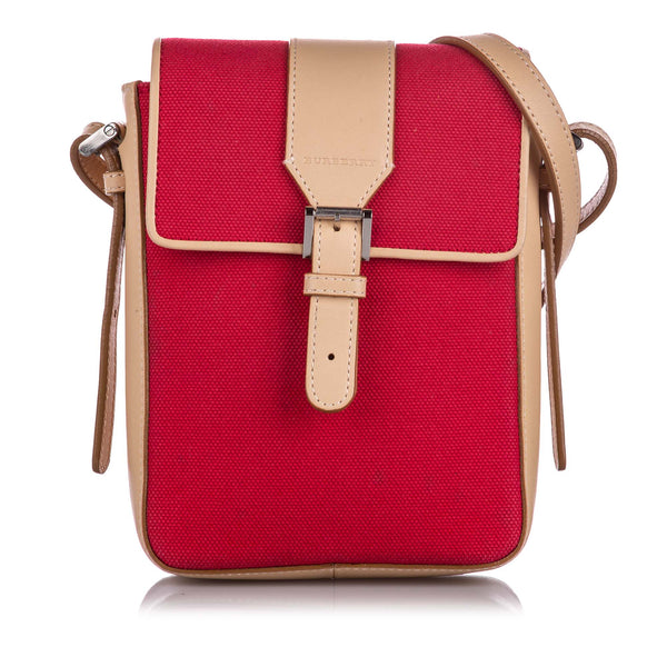 Red Burberry Canvas Crossbody Bag