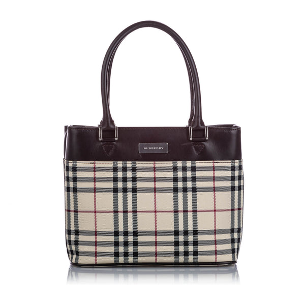 Brown Burberry House Check Canvas Handbag Bag