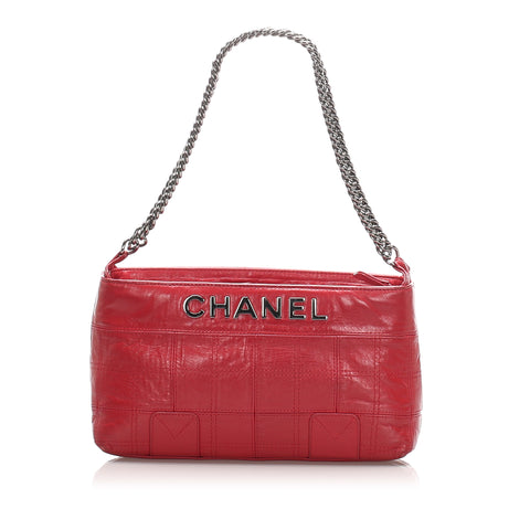 Red Chanel Choco Bar Leather Lax Pochette Bag