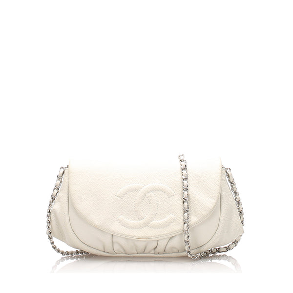 White Chanel Caviar Leather Half Moon Wallet on Chain