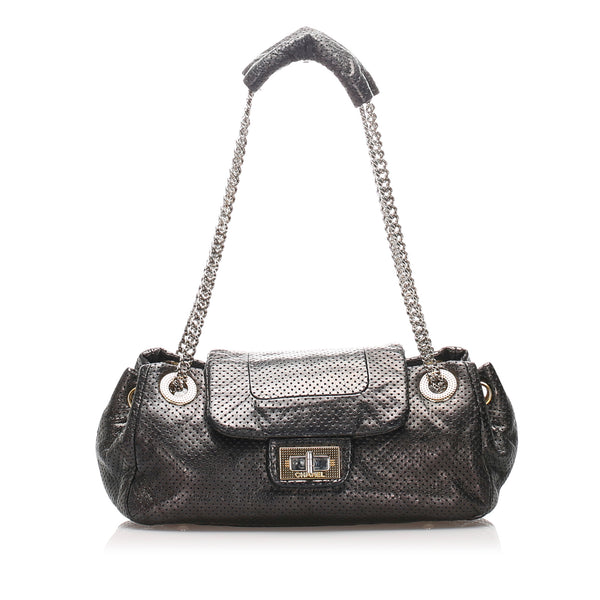 Black Chanel Perforated Drill Accordion Flap Bag