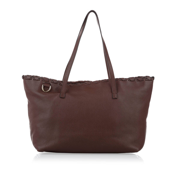 Brown Gucci Bamboo Leather Tote Bag