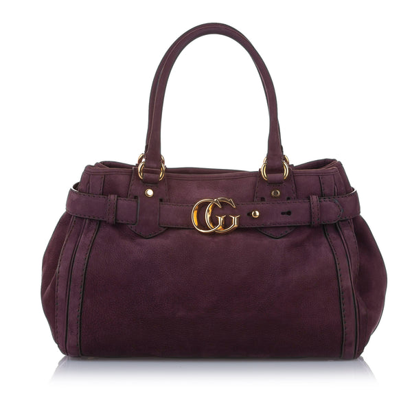 Purple Gucci GG Running Leather Tote Bag