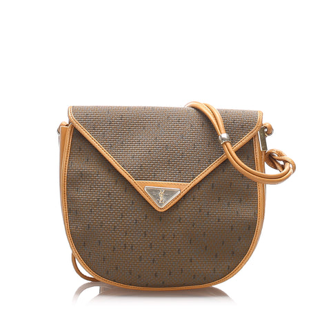 Brown YSL Coated Canvas Crossbody Bag